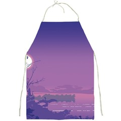 Abstract Tropical Birds Purple Sunset  Full Print Aprons by WaltCurleeArt