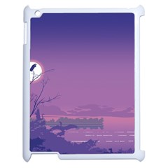 Abstract Tropical Birds Purple Sunset  Apple Ipad 2 Case (white) by WaltCurleeArt