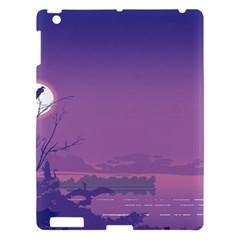 Abstract Tropical Birds Purple Sunset  Apple Ipad 3/4 Hardshell Case by WaltCurleeArt