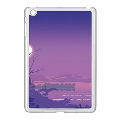 Abstract Tropical Birds Purple Sunset  Apple Ipad Mini Case (white) by WaltCurleeArt