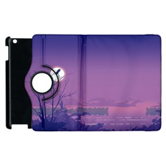 Abstract Tropical Birds Purple Sunset  Apple Ipad 3/4 Flip 360 Case by WaltCurleeArt