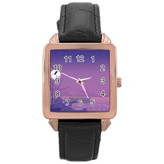Abstract Tropical Birds Purple Sunset  Rose Gold Leather Watch  by WaltCurleeArt
