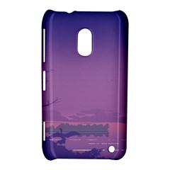 Abstract Tropical Birds Purple Sunset  Nokia Lumia 620 by WaltCurleeArt