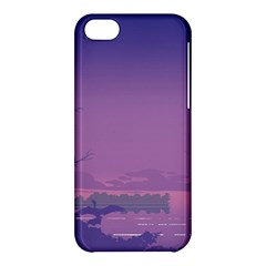 Abstract Tropical Birds Purple Sunset  Apple Iphone 5c Hardshell Case by WaltCurleeArt
