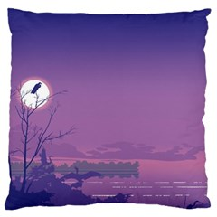 Abstract Tropical Birds Purple Sunset  Large Flano Cushion Case (one Side) by WaltCurleeArt