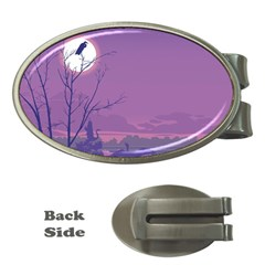 Abstract Tropical Birds Purple Sunset Money Clips (oval)  by WaltCurleeArt