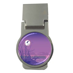 Abstract Tropical Birds Purple Sunset Money Clips (round)  by WaltCurleeArt