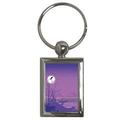 Abstract Tropical Birds Purple Sunset Key Chains (rectangle)  by WaltCurleeArt