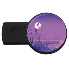 Abstract Tropical Birds Purple Sunset Usb Flash Drive Round (2 Gb)  by WaltCurleeArt