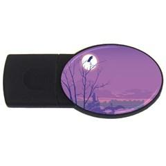 Abstract Tropical Birds Purple Sunset Usb Flash Drive Oval (2 Gb)  by WaltCurleeArt