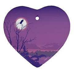 Abstract Tropical Birds Purple Sunset Heart Ornament (2 Sides) by WaltCurleeArt