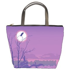Abstract Tropical Birds Purple Sunset Bucket Bags by WaltCurleeArt