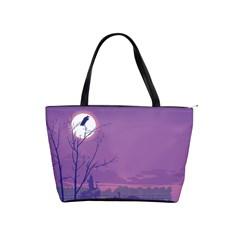 Abstract Tropical Birds Purple Sunset Shoulder Handbags by WaltCurleeArt