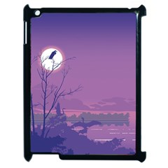 Abstract Tropical Birds Purple Sunset Apple Ipad 2 Case (black) by WaltCurleeArt