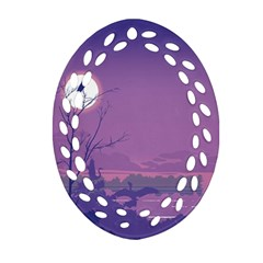 Abstract Tropical Birds Purple Sunset Ornament (oval Filigree)  by WaltCurleeArt