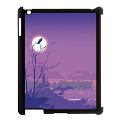 Abstract Tropical Birds Purple Sunset Apple Ipad 3/4 Case (black) by WaltCurleeArt