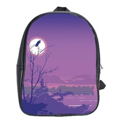 Abstract Tropical Birds Purple Sunset School Bags (xl)  by WaltCurleeArt