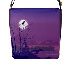 Abstract Tropical Birds Purple Sunset Flap Messenger Bag (l)  by WaltCurleeArt