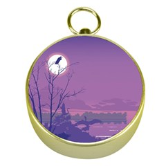 Abstract Tropical Birds Purple Sunset Gold Compasses by WaltCurleeArt