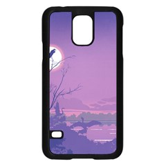 Abstract Tropical Birds Purple Sunset Samsung Galaxy S5 Case (black) by WaltCurleeArt