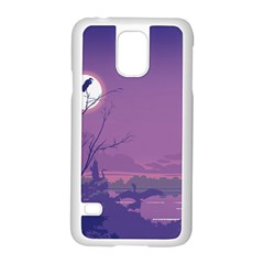 Abstract Tropical Birds Purple Sunset Samsung Galaxy S5 Case (white) by WaltCurleeArt
