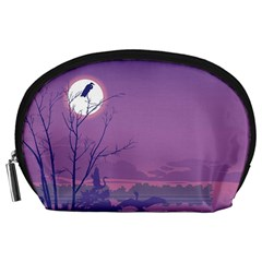 Abstract Tropical Birds Purple Sunset Accessory Pouches (large)  by WaltCurleeArt