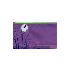 Abstract Tropical Birds Purple Sunset Cosmetic Bag (xs) by WaltCurleeArt