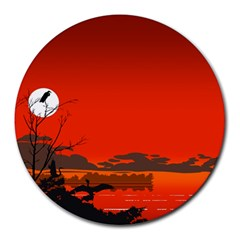 Tropical Birds Orange Sunset Landscape Round Mousepads by WaltCurleeArt