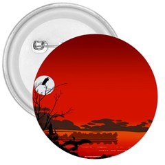 Tropical Birds Orange Sunset Landscape 3  Buttons by WaltCurleeArt