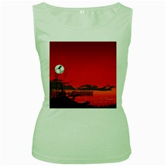 Tropical Birds Orange Sunset Landscape Women s Green Tank Top by WaltCurleeArt