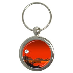 Tropical Birds Orange Sunset Landscape Key Chains (round)  by WaltCurleeArt