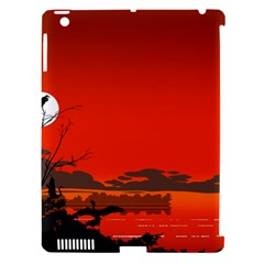 Tropical Birds Orange Sunset Landscape Apple Ipad 3/4 Hardshell Case (compatible With Smart Cover) by WaltCurleeArt