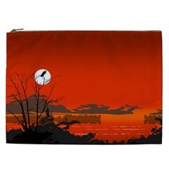 Tropical Birds Orange Sunset Landscape Cosmetic Bag (xxl)  by WaltCurleeArt