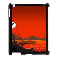 Tropical Birds Orange Sunset Landscape Apple Ipad 3/4 Case (black) by WaltCurleeArt