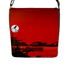 Tropical Birds Orange Sunset Landscape Flap Messenger Bag (l)  by WaltCurleeArt