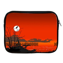 Tropical Birds Orange Sunset Landscape Apple Ipad 2/3/4 Zipper Cases by WaltCurleeArt