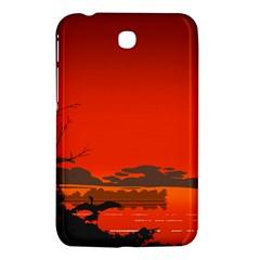 Tropical Birds Orange Sunset Landscape Samsung Galaxy Tab 3 (7 ) P3200 Hardshell Case  by WaltCurleeArt