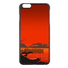 Tropical Birds Orange Sunset Landscape Apple Iphone 6 Plus/6s Plus Black Enamel Case by WaltCurleeArt