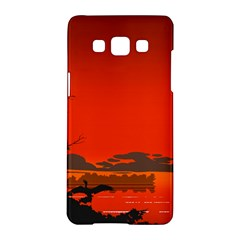 Tropical Birds Orange Sunset Landscape Samsung Galaxy A5 Hardshell Case  by WaltCurleeArt