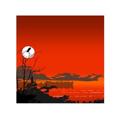 Tropical Birds Orange Sunset Landscape Small Satin Scarf (square) by WaltCurleeArt
