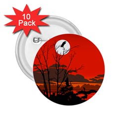 Tropical Birds Orange Sunset Landscape 2 25  Buttons (10 Pack)  by WaltCurleeArt