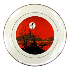 Tropical Birds Orange Sunset Landscape Porcelain Plates by WaltCurleeArt