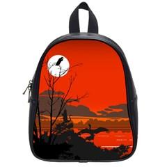 Tropical Birds Orange Sunset Landscape School Bags (small)  by WaltCurleeArt