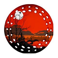 Tropical Birds Orange Sunset Landscape Ornament (round Filigree)  by WaltCurleeArt