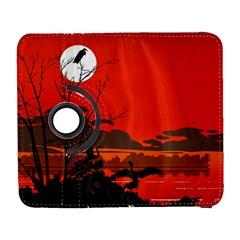 Tropical Birds Orange Sunset Landscape Samsung Galaxy S  III Flip 360 Case by WaltCurleeArt