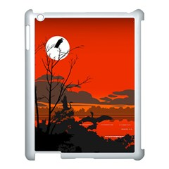 Tropical Birds Orange Sunset Landscape Apple Ipad 3/4 Case (white) by WaltCurleeArt
