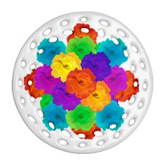 Flowes Collage Ornament Ornament (round Filigree)  by dflcprints