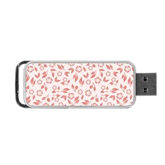 Red Seamless Floral Pattern Portable Usb Flash (two Sides) by TastefulDesigns
