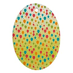 Colorful Balloons Backlground Ornament (oval)  by TastefulDesigns