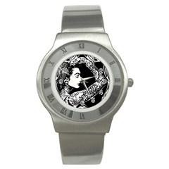 Tattooed Woman Stainless Steel Watch (Slim) by DryInk